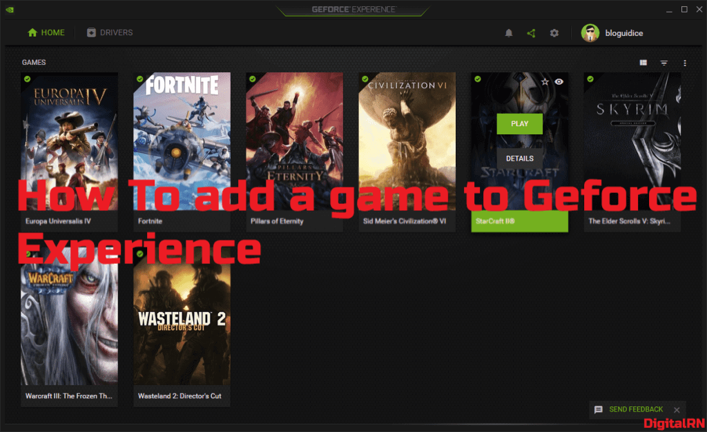 How to add a game to Geforce experience