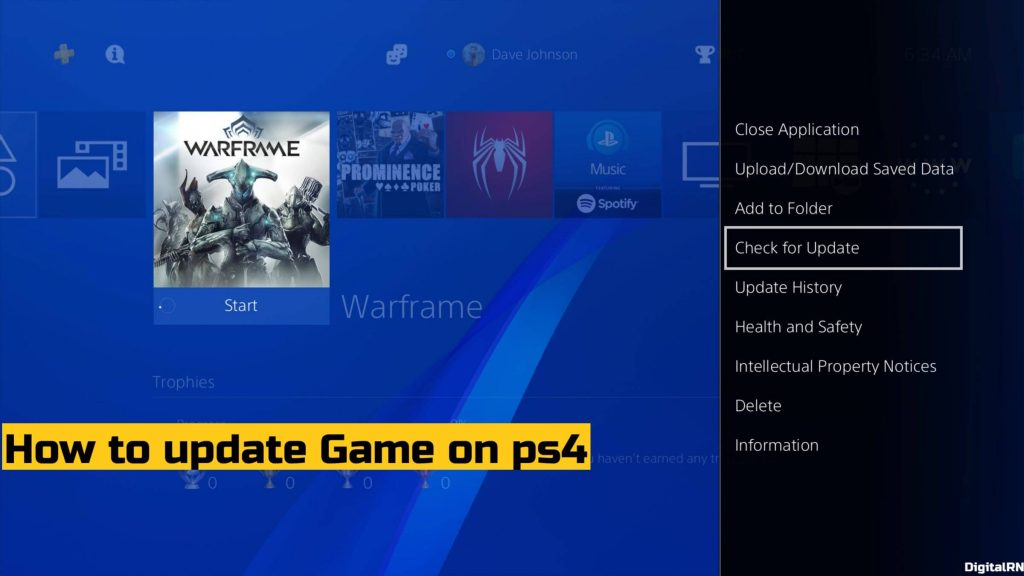 How to update Game on ps4